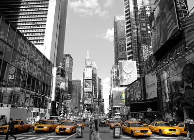 Times Square, taxi, Mountain Dew, selective coloring - random desktop wallpaper