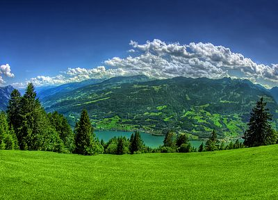 mountains, clouds, landscapes, trees, grass, towns, Lake Lucerne - related desktop wallpaper