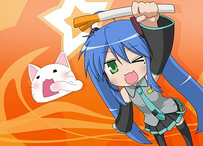cosplay, Vocaloid, Hatsune Miku, cats, Lucky Star, Izumi Konata, detached sleeves - desktop wallpaper