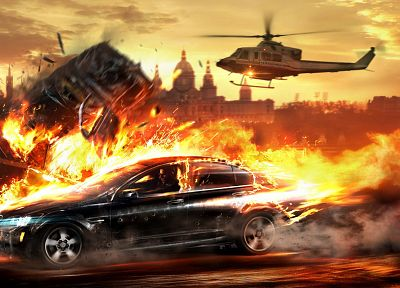 video games, cityscapes, helicopters, cars, explosions, fire, police, destruction - related desktop wallpaper