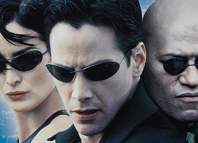 movies, glasses, Neo, Matrix, Trinity, Keanu Reeves, Morpheus, Carrie-Anne Moss, Laurence Fishburne - related desktop wallpaper