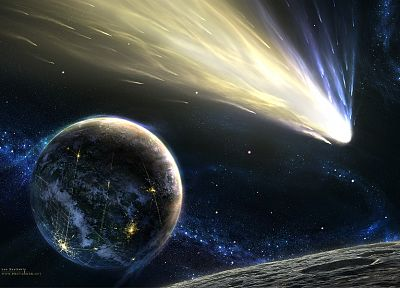 outer space, planets, meteorite - random desktop wallpaper