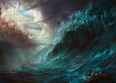 fantasy, waves, horses, battles, artwork, warriors - random desktop wallpaper