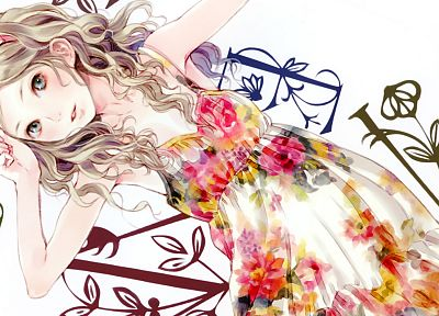 blondes, dress, patterns, anime, soft shading, anime girls - random desktop wallpaper
