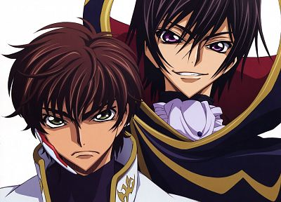Code Geass, Kururugi Suzaku, Lamperouge Lelouch, simple background - random desktop wallpaper