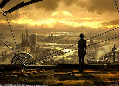 cityscapes, men, artwork, industrial plants - related desktop wallpaper