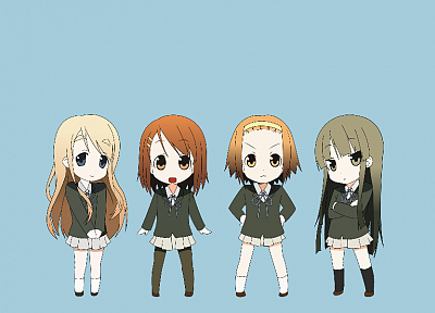 K-ON!, school uniforms, Hirasawa Yui, Akiyama Mio, Tainaka Ritsu, Kotobuki Tsumugi, simple background, knee socks - random desktop wallpaper
