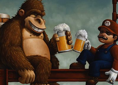 Nintendo, beers, video games, Mario Bros, alcohol, Donkey Kong - random desktop wallpaper