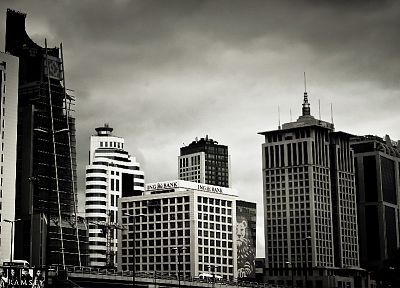 cityscapes, skyscrapers, monochrome, Istanbul, Maslak - related desktop wallpaper