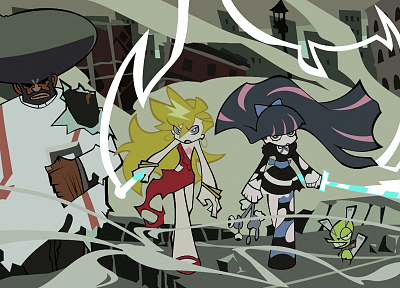 Panty and Stocking with Garterbelt, Anarchy Panty, Anarchy Stocking, striped legwear, Garterbelt (PSG) - random desktop wallpaper