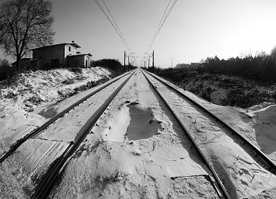 winter, grayscale, railway - desktop wallpaper