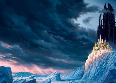 winter, castles, fantasy art, artwork, Mortal Engines - random desktop wallpaper