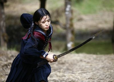 women, samurai, Asians, Korean, Jeon Ji Hyun, swords - random desktop wallpaper