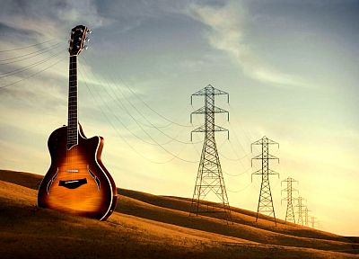 music, power lines - desktop wallpaper