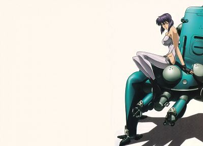 Motoko Kusanagi, Tachikoma, Ghost in the Shell, simple background - random desktop wallpaper