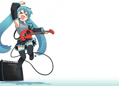 Vocaloid, Hatsune Miku, tie, skirts, long hair, thigh highs, instruments, twintails, simple background, detached sleeves - desktop wallpaper
