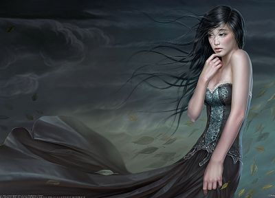 women, dress, artwork, realistic, Yuehui Tang - random desktop wallpaper