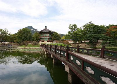 landscapes, trees, architecture, bridges, Korea, lakes, reflections - related desktop wallpaper