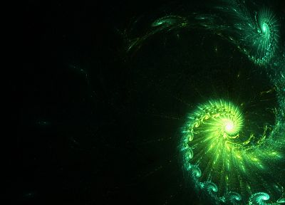 green, abstract, digital art, fractal - desktop wallpaper