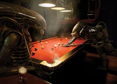 Aliens vs Predator movie, billiards tables - random desktop wallpaper