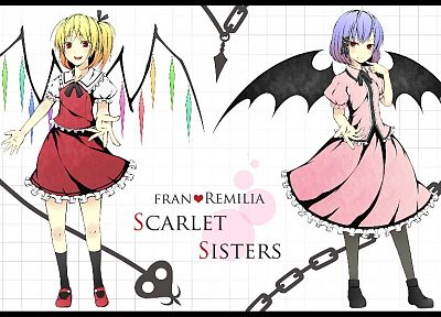blondes, Touhou, wings, dress, purple hair, short hair, chains, Flandre Scarlet, Remilia Scarlet, anime girls, white background - desktop wallpaper