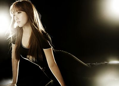 women, Girls Generation SNSD, celebrity, Asians, Korean, Kim Taeyeon, black dress, bangs - related desktop wallpaper
