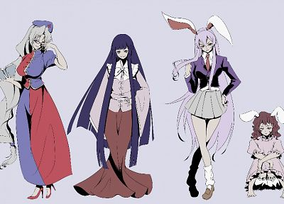 brunettes, video games, Touhou, dress, blue eyes, princess, school uniforms, schoolgirls, tie, skirts, glasses, long hair, brown eyes, nurses, purple hair, books, pink hair, animal ears, red eyes, high heels, short hair, Reisen Udongein Inaba, Imperishabl - related desktop wallpaper