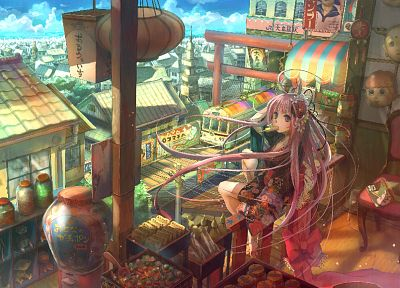 cityscapes, multicolor, buildings, anime, original characters - desktop wallpaper