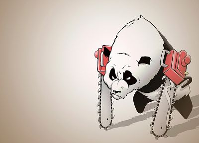 chainsaw, panda bears, artwork - desktop wallpaper