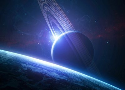outer space, stars, planets, rings - related desktop wallpaper