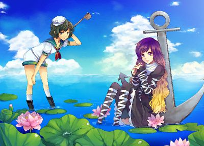 water, Touhou, sailors, anchors, Hijiri Byakuren, Murasa Minamitsu, bicolored hair - random desktop wallpaper