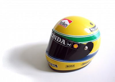 Ayrton Senna, helmets, simple background - random desktop wallpaper