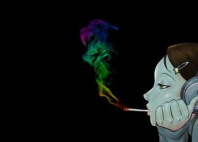 headphones, women, smoking, abstract, music, smoke, spectrum, marijuana, rainbows - related desktop wallpaper
