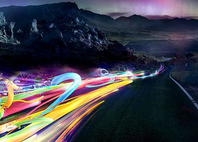 abstract, streets, multicolor, aurora borealis, artwork - related desktop wallpaper