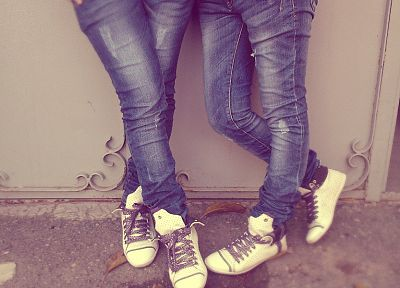 legs, women, jeans, teen, shoes, sneakers - random desktop wallpaper