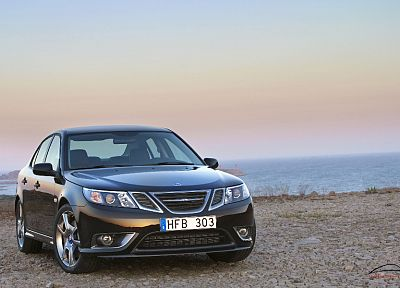 coast, cars, Saab 9-3 TURBO X - random desktop wallpaper