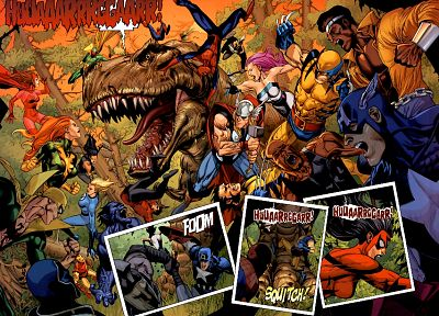 Spider-Man, Captain America, Wolverine, dinosaurs, Marvel Comics - related desktop wallpaper