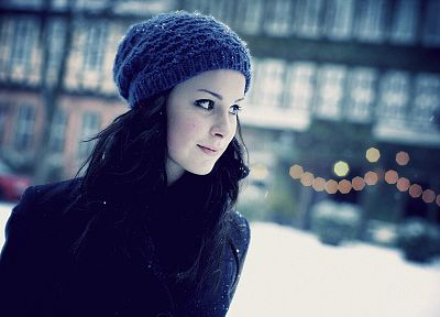 brunettes, women, blue, snow, bokeh, Lena Meyer-Landrut, hats - related desktop wallpaper