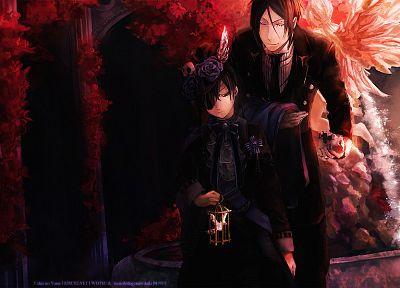 brunettes, flowers, suit, eyepatch, Kuroshitsuji, Ciel Phantomhive, Sebastian Michaelis, anime, anime boys - related desktop wallpaper