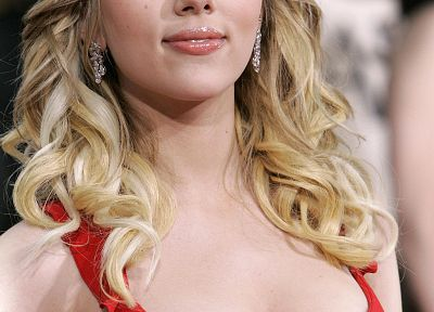 Scarlett Johansson, actress, red dress - random desktop wallpaper