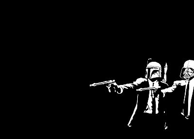 Star Wars, Pulp Fiction, crossovers, black background - desktop wallpaper