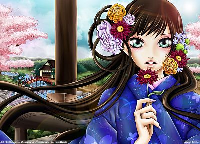 brunettes, cherry blossoms, flowers, Sakura, bridges, kimono, green eyes, rivers, anime girls, Japanese architecture, Towako Gokurakuin, Ojousama wa Oyomesama - desktop wallpaper