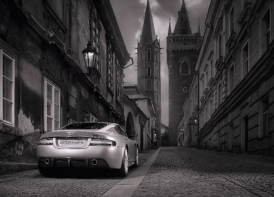 cityscapes, cars, Aston Martin, architecture, buildings, grayscale, monochrome, vehicles, Aston Martin DBS, backview cars, mehmetbaran1 - desktop wallpaper