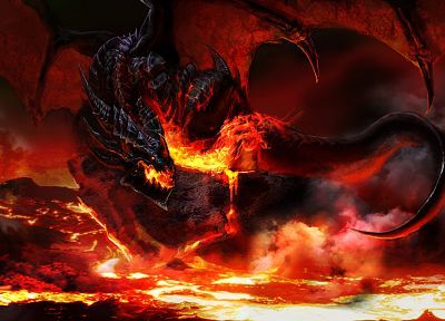video games, dragons, World of Warcraft, lava, deathwing, artwork, fan art, Warcraft, World of Warcraft: Cataclysm - related desktop wallpaper