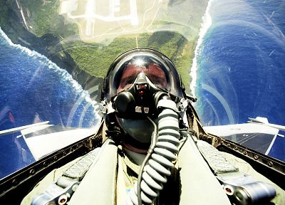Pilot, cockpit, fly, gas masks, F-16 Fighting Falcon, jet aircraft - random desktop wallpaper