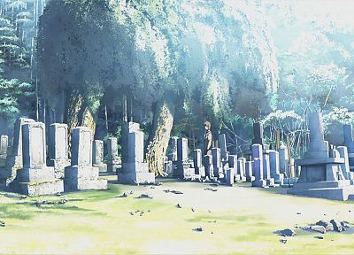trees, Makoto Shinkai, scenic, The Place Promised in Our Early Days, cemetery - random desktop wallpaper