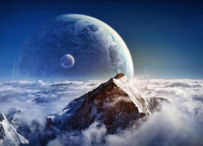 mountains, landscapes, planets, mist, digital art, photo manipulation - related desktop wallpaper