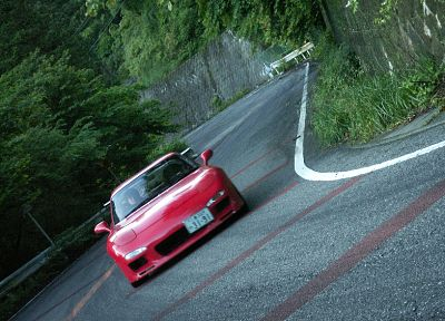 Japan, mountains, cars, vehicles, Mazda RX-7, red cars, Mazda RX-7 FD-3S - random desktop wallpaper