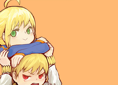 blondes, Fate/Stay Night, green eyes, red eyes, Gilgamesh, anime boys, Saber, ahoge, anime girls, Fate series - related desktop wallpaper