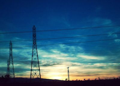 sunset, power lines, countryside, pylon - desktop wallpaper